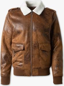 Brązowa kurtka CLOCKHOUSE ze skóry w stylu casual