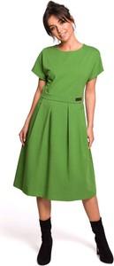 Sukienka MOE z krótkim rękawem rozkloszowana midi