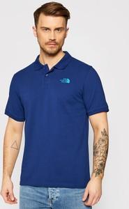 Niebieska koszulka polo The North Face w stylu casual z krótkim rękawem