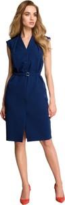 Niebieska sukienka Style bez rękawów midi