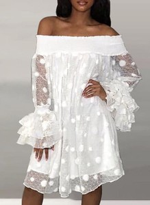 Sukienka Sandbella hiszpanka mini z długim rękawem
