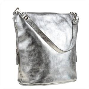 Srebrna torebka Real Leather na ramię w wakacyjnym stylu