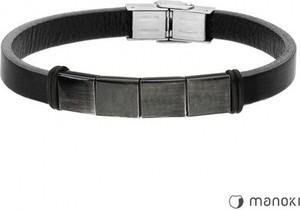 Manoki BA657B czarna bransoletka męska ze skóry i stali szlachetnej