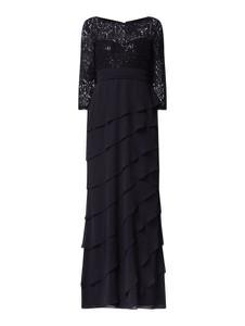 Czarna sukienka Christian Berg Cocktail z okrągłym dekoltem maxi z długim rękawem