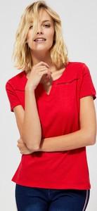 Czerwona bluzka Moodo z bawełny z krótkim rękawem