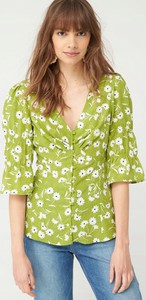 Zielona bluzka V by Very z krótkim rękawem