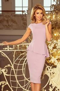 Fioletowa sukienka NUMOCO midi z krótkim rękawem