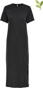Czarna sukienka Only z krótkim rękawem z bawełny maxi