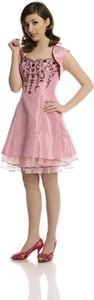 Różowa sukienka Fokus rozkloszowana bez rękawów mini