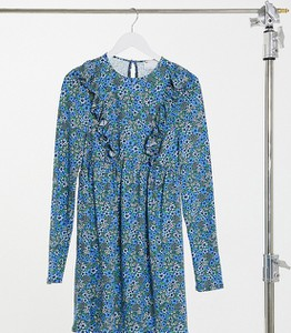 Niebieska sukienka Asos z długim rękawem