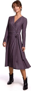 Sukienka Be z bawełny z dekoltem w kształcie litery v z długim rękawem