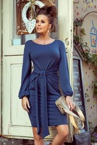 Niebieska sukienka Merg z długim rękawem z okrągłym dekoltem w stylu casual
