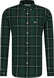 Zielona koszula Lacoste z długim rękawem