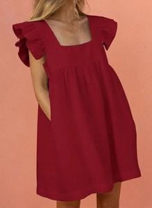 Czerwona sukienka Sandbella w stylu boho z okrągłym dekoltem z bawełny