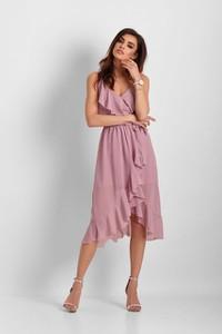 Różowa sukienka Ivon midi z szyfonu asymetryczna