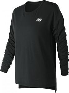 Czarna bluzka New Balance w sportowym stylu z długim rękawem