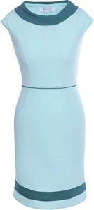 Niebieska sukienka Fokus midi z krótkim rękawem z tkaniny