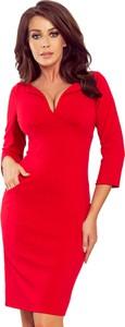 Czerwona sukienka NUMOCO z długim rękawem z dekoltem w kształcie litery v