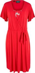Sukienka bonprix bpc bonprix collection z dżerseju w stylu casual kopertowa