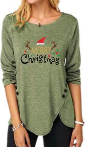 Bluzka Sandbella z długim rękawem w bożonarodzeniowy wzór z tkaniny