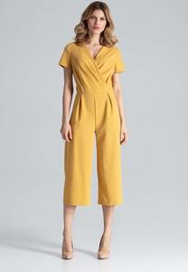 Żółty kombinezon Figl w stylu casual z długimi nogawkami
