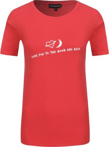 Czerwony t-shirt Emporio Armani w stylu casual z krótkim rękawem