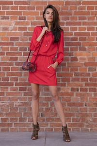 Sukienka Fobya mini z tkaniny z długim rękawem