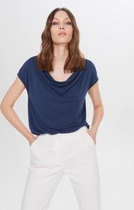 Niebieska bluzka Mohito z krótkim rękawem w stylu casual