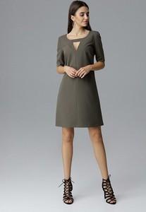 Zielona sukienka Figl z krótkim rękawem dopasowana