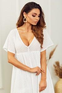 Sukienka HAVANA DESIGN mini z dekoltem w kształcie litery v z krótkim rękawem