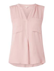 Różowa bluzka Tom Tailor Denim z dekoltem w kształcie litery v bez rękawów