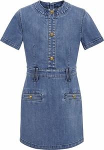Niebieska sukienka dziewczęca Balmain z bawełny
