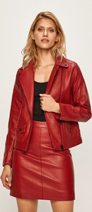 Czerwona kurtka Pepe Jeans ze skóry ekologicznej krótka