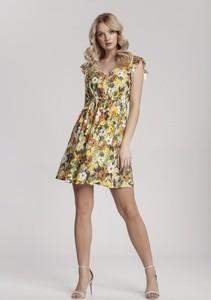 Żółta sukienka Renee mini z krótkim rękawem