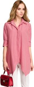 Różowa koszula Style w stylu casual z tkaniny