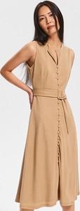 Brązowa sukienka Reserved bez rękawów z dekoltem w kształcie litery v midi