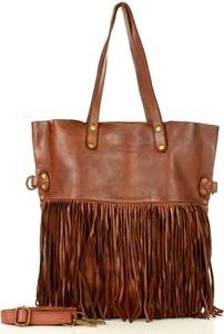 Brązowa torebka Marco Mazzini Handmade w stylu boho z frędzlami na ramię