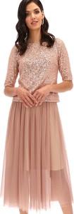 Różowa spódnica L'AF w bożonarodzeniowy wzór midi
