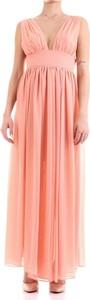 Różowa sukienka Relish z dekoltem w kształcie litery v maxi
