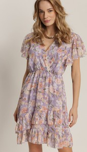 Fioletowa sukienka Renee z krótkim rękawem mini z dekoltem w kształcie litery v