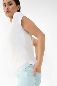 Bluzka ORSAY z okrągłym dekoltem z szyfonu z krótkim rękawem
