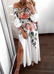 Sukienka Sandbella w stylu boho maxi z odkrytymi ramionami