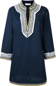 Niebieska sukienka Tory Burch z długim rękawem