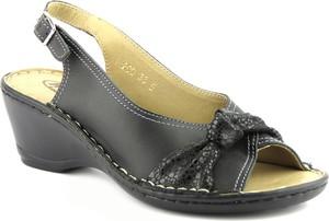 Czarne sandały Helios ze skóry