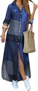 Niebieska sukienka Cikelly z kołnierzykiem koszulowa