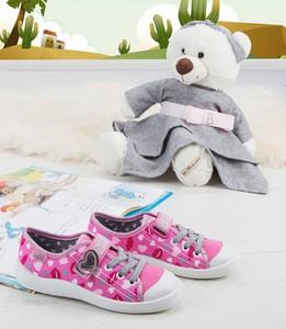 Różowe trampki dziecięce Befado z tkaniny