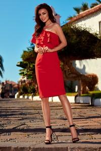 Czerwona sukienka TAGLESS z asymetrycznym dekoltem bez rękawów midi