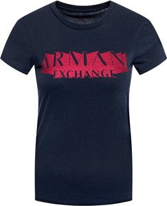 Czarny t-shirt Armani Jeans z krótkim rękawem z okrągłym dekoltem