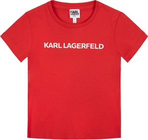 Czerwona koszulka dziecięca Karl Lagerfeld z krótkim rękawem