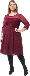 Sukienka Junarose midi z okrągłym dekoltem z długim rękawem